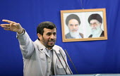 Iran's President Mahmoud Ahmadinejad speaks during Friday prayers at a university in Tehran, Iran. Millions of Iranians attended nationwide rallies Friday in support of the Palestinians, while the co... - Siavash Habibollahi - 05-10-2007