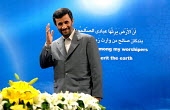 Iran's President Mahmoud Ahmadinejad greets journalists before the start of a news conference in Tehran, Iran. Iranian President Mahmoud Ahmadinejad says the Saudi foreign minister's claims of Irania... - Siavash Habibollahi - 13-05-2008