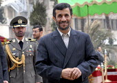 Iranian President Mahmoud Ahmadinejad smiles at the presidential palace in Tehran, Iran.  Feb 10, 2008 - Siavash Habibollahi - 10-02-2008