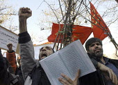 Iranian protestors chant slogans in front of the Austrian Embassy, the country which currently holds the presidency of the European Union, over drawings of the Prophet Muhammed in European newspapers,... - Siavash Habibollahi - 06-02-2006