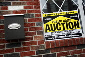 Foreclosure & Public Auction sign on house in central Philadelphia, USA. - Steven Langdon - 31-12-2008