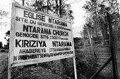 A sign outside a genocide memorial church indicates that 5000 were killed here in the genocide of 1994 of Tutsis by Hutu militia Nyamata, Rwanda, 2003 - Steven Langdon - 03-08-2003