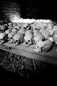 Bones and skulls from victims of the genocide in a memorial tomb at Nyamata, Rwanda, 2003 - Steven Langdon - 03-08-2003
