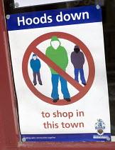 Hoody Sign in Penzance Cornwall. - Sam Morgan Moore - 2000s,2007,anti social behaviour,behavior behavior,boy boys,CLJ,clothing clothes,communities,community,demonisation,dress,hood hoods,hooded,hoodie,hoodies,hoody,id,identification,identity,people,perso