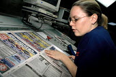 The only qualified female Level 2 machine printer at Mirror Colour Print, Watford. - Janina Struk - 2000s,2002,capitalism,capitalist,EBF economy business,female,Industries,industry,job,jobs,LAB LBR work,machine,MACHINERY,machines,maker,makers,making,Mirror,people,person,persons,print,printer,printer