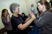 BECTU women practising self-defence techniques during a workshop at a national women's event. - Janina Struk - 12-11-2005