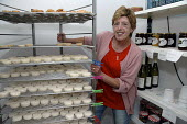 French farmer selling her freshly made goats cheese as well as local wines and honey at a small shop outlet on the farm. - Janina Struk - 26-08-2007