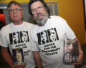 Author and actor Ricky Tomlinson holding his autobiography and fellow activist with the late Des Warren's book wearing Justice for the Shrewsbury Pickets t-shirts at a fringe meeting at the CWU annual... - Janina Struk - 2000s,2008,ACTIVIST,activists,at,campaign,campaigner,campaigners,CAMPAIGNING,CAMPAIGNS,conference,conferences,CWU,DEMONSTRATING,DEMONSTRATION,DEMONSTRATIONS,DISPUTE,DISPUTES,meeting,MEETINGS,member,me