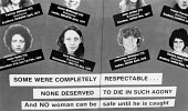 Billboards in Halifax by the police to display the photographs and details of women murdered by the Yorkshire Ripper, who had not yet been apprehended. - Janina Struk - 06-09-1979
