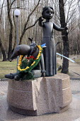 A floral wreath around a monument to the children who were murdered by the Nazis in the Babi Yar ravine, where in September 1941 33, 771 Jews were massacred, Kiev, Ukraine. - Janina Struk - 14-04-2012