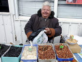 An elderly woman market trader selling nuts and sunflower seeds in a street market in Crimea, Ukraine. - Janina Struk - 28-03-2012