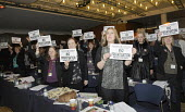 Women delegates from UCU and other trade unions stand with leaflets in solidarity with the strikers at the National Gallery, London at Womens TUC, 2015 - Janina Struk - 12-03-2015