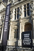 Hotel de Ville, Place de la Repbulique, with a banner reading Paris et Charlie, Paris. - Janina Struk - 04-02-2015