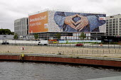 A large poster featuring the hands of Angela Merkel of the CDU, the German Chancellor, German election campaign 2013, Berlin, Germany - Janina Struk - 23-09-2013