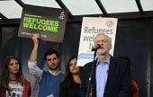 Jeremy Corbyn speaking Refugees are welcome protest London - Janina Struk - ,2010s,2015,activist,activists,CAMPAIGN,campaigner,campaigners,CAMPAIGNING,CAMPAIGNS,crisis,DEMONSTRATING,demonstration,DEMONSTRATIONS,Diaspora,displaced,foreign,foreigner,foreigners,IMMIGRANT,immigra