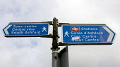 Blue directions signs for pedestrians to the town centre and Stations in Ashford, Kent - John Sturrock - 14-09-2004