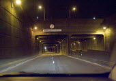 Approaching the eastern side of the A40 underpass beneath the A406 North Circular Road at the Hanger Lane Gyratory system, by car at night - John Sturrock - 13-03-2005