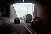 The driver's view of heavy traffic travelling out of the Fore Street Tunnel, Edmonton, along the A406 North Circular Rd, in north east London - John Sturrock - 11-04-2005