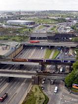 Road and rail bridges over the A406 north circular road, near Wembley, north London - John Sturrock - 30-07-2004