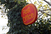 Partially obscured Post Office sign in Upstreet, a village in rural Kent. - John Sturrock - 16-11-2005