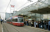 Croydon Tramlink stop at East Croydon Network Rail Station, is an imporatnt interchange between tram and train for commuters on their way home. - John Sturrock - 10-10-2006
