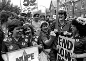 NHS pay dispute 1982. NHS workers and NUM miners march together in protest at a four percent pay offer. Cardiff - John Sturrock - 16-06-1982
