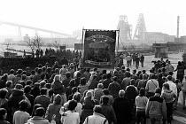 Armthorpe NUM return to work at the end of the strike, Yorkshire. Miners Strike - John Sturrock - 1980s,1985,banner,banners,Coal Mine,collieries,colliery,disputes,INDUSTRIAL DISPUTE,member,member members,members,mine,miner,miners,MINER'S,Miners Strike,Miner's Strike,mines,NUM,people,pit,pits,retur