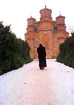 Gracanica Monastery - an important Orthodox Serbian church. Gracanica, Kosovo - Andrija Ilic - ,&,1990s,1998,Balkan,balkans,belief,conviction,europe,faith,GOD,kosovo,LIFE,male,man,men,Monastery,monk,monks,Orthodox,people,person,persons,religion,religions,RELIGIOUS,rlb,serb,SERBIA,Serbian,Serbia