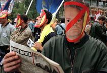 Anti- Miloshevic protest in Belgrade, Serbia. 1999 - Andrija Ilic - 01-07-1999