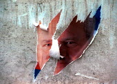 Torn poster of former President Miloshevic, Belgrade, Serbia. 2000 - Andrija Ilic - ,2000,2000s,activist,activists,Balkan,balkans,CAMPAIGNING,CAMPAIGNS,conflict,conflicts,DEMONSTRATION,demonstrations,europe,politicians,poster,POSTERS,President,PROTEST,PROTESTER,PROTESTERS,protesting,