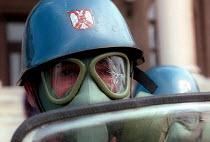 Policemen during anti -Miloshevic demonstration, Belgrade. Serbia. 2000 - Andrija Ilic - 01-07-2000