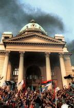 Demonstration to mark the fall of the Miloshevic regime, Belgrade. Serbia. 2000 - Andrija Ilic - 01-07-2000