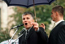 Zoran Djindjic at anti- Miloshevic rally in Zrenjanin. Serbia. 1999 - Andrija Ilic - 01-07-1999