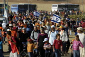 Jewish demonstrators - opponents of Gaza withdrawal - gather in Neviot at the first day of Settlement March, in support of other settlers in Gush Katif whose removal is proposed by Israeli government.... - Andrija Ilic - 19-07-2005