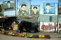 Street fruit market with posters of Palestinian militants, Gaza City, Gaza 2005 - Andrija Ilic - 05-07-2005