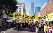 Protest against the US war on Iraq, downtown Los Angeles, attended by 50,000 people.  Los Angeles, USA 2003 - Andrija Ilic - 07-05-2003