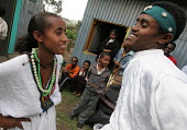 Ethiopian students perform a dance as part of an AIDS awareness program in a Youth Association in Dessie, Ethiopia 2005 - Boris Heger - /,2000s,2005,Acquired immune,adolescence,adolescent,adolescents,africa,african,Africans,AIDS,boy,boys,child,CHILDHOOD,children,dance,DANCER,DANCERS,DANCING,deficiency syndrome,developing,disease,DISEA