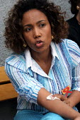First Lady Azeb Mesfin, wife of Ethiopian Prime Minister Meles Zenawi, gives a blood sample for HIV-AIDS testing, as part of a programme to encourage testing in Ethiopia where HIV transmission is grow... - Boris Heger - 06-09-2005