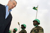 The Peace and Security Commissioner for the African Union Said Djinnit visiting a displaced persons camp close to El Fasher, which is being protected by African Union soldiers. Zamzam IDP camp, Darfur... - Boris Heger - 02-06-2005