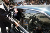 Shijaia. Gaza City. The Palestinian prime minister Ismail Haniya leaving after friday prayer in the Alislah Mosque. Since the Israeli military re entered the Gaza Strip he has had to keep a low profil... - Thomas Morley - 28-07-2006