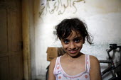 Gaza City. A young Palestinian girl in Gaza outside her home. She is living very close to the Israeli troops who are again back inside Gaza. - Thomas Morley - 27-07-2006
