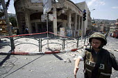One of the rockets fired by Hezbollah, hits the post office and blows out the window of a shop. Thirty people have been injured, many seriously, during these attacks. Haifa, Israel 2006 - Thomas Morley - 21-07-2006