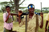 Young militia gunmen aligned to Morgans clan. Southern Somalia. 1993 - Howard Davies - 03-05-1993