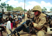 US troops on patrol in Bardere at the time of the famine. Somalia. 1993 - Howard Davies - 03-05-1993