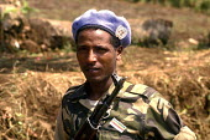 Ethiopian UN soldier on patrol shortly after the Rwandan genocide in south west Rwanda. 1994 - Howard Davies - 03-05-1994