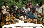 Rwandan Hutu refugees who have escaped a massacre by rebels in revenge for the 1994 Rwandan genocide. Biaro camp, Kisangani , Congo - Zaire 1997 - Howard Davies - 03-05-1994