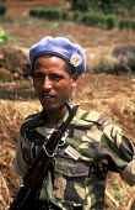 Ethiopian UN soldier on patrol shortly after the Rwandan genocide in S W Rwanda. 1994 - Howard Davies - 03-05-1994