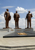Statue in Gaborone, commemorating the three traditonal Chiefs - Khama, Sebele and Bathoen. Who are credited with securing the land which was later established as modern day Botswana. - Howard Davies - 31-10-2006
