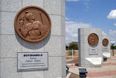 Memorial in Gaborone, commemorating the three traditonal Chiefs, who secured the land which was later established as modern day Botswana. - Howard Davies - 31-10-2006