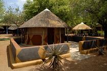 Traditional village round mud houses recreated in Gaborones Museum, Botswana. 2006 - Howard Davies - 31-10-2006